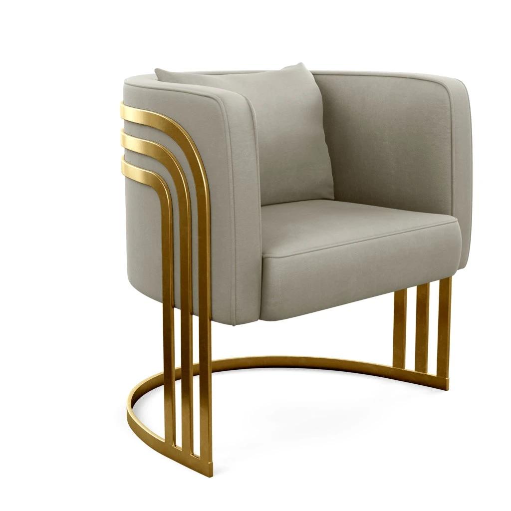 Brass Leg Tub Armchair